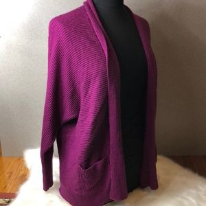 A.N.A Purple Ribbed Knit Open Cardigan